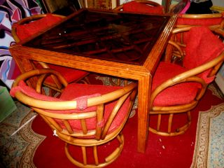 Rattan Asian Dining Table Cane Swivel Chair Bamboo Wood Dinette Set