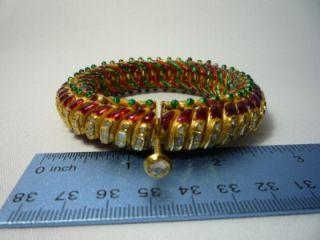 Vintage Moghul Type Antique 22K Gold Diamond Kundan Enamel Red