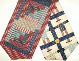 Log Cabin Patchwork Pre Cut Table Runner Kit 13x45 inch USA Patriotic