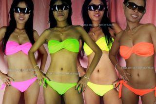 Bandeau Bikini Neon Fluorescent Green Pink Orange Strapless Twisted