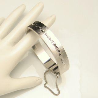 West Germany Vintage Bangle Bracelet Lovely Scored Etched Hinged Solid