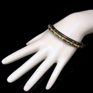 GLASS CLOISONNE Vintage Bangle Bracelets White Green Flowers Design