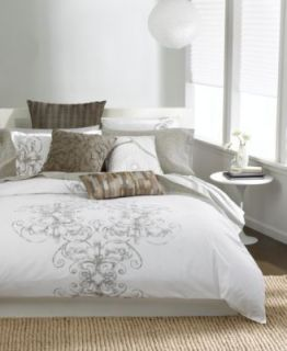 AT HOME Bar III Vintage Scroll Cotton FULL QUEEN Comforter White