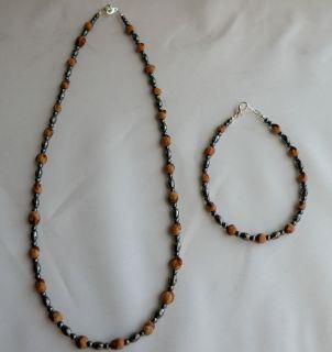 Native American Navajo Ghost Beads Necklace Bracelet Set Hematite