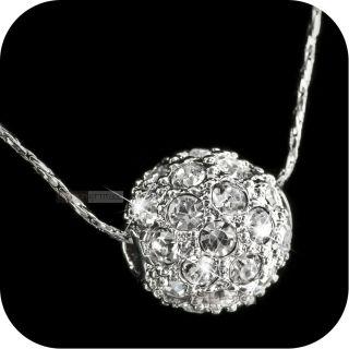 18k white gold genuine uz SWAROVSKI crystal ball pendant necklace