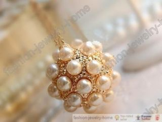Fashion Lovely Glass Pearl Gold Plated Ball Pendant Necklace