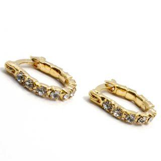 Crystal Gold 18K GF Little Hoop Earrings Baby Girl Kids 10mm