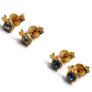 Lot 2 Apple White CZ Baby Blue Crystal Earrings Gold 18K GF Infants