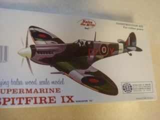 Spitfire IX Balsa Wood Scale Model Airplane Kit SEALED
