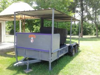 BBQ Smoker with Trailer 2 Sinks 7 Cooking Racks Counter