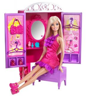 Barbie Doll Dress Up to Make Up Set Wardrobe Closet Furniture Ships