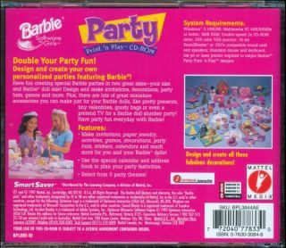 Barbie Party Print N Play from Mattel Media Party Designer Windows 98