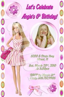 Barbie Personalized Birthday Party Photo Invitation with Envelopes