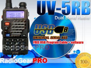 BAOFENG UV 5RB VHF UHF Dual Band Radio FM 65 108MHz UV 5R USB Cable CD