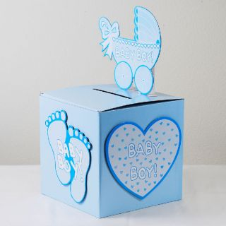 babyshower wishing well card gift or money box boy party ideas