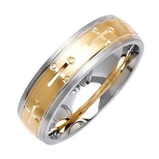 14k White Gold Cross Wedding Band Ring 7 mm Mens Womens
