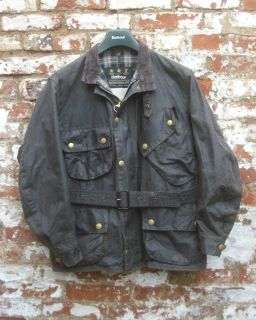 Barbour NATO International Motorcycle Wax Jacket with Belt Cleaned Re