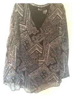 Womens Plus Size Clothing Maggie Barnes 3X Black White Tank Top w