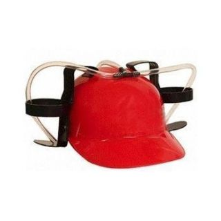 Red Party Beer Soda Dual Drinking Hard Hat Helmet Fun