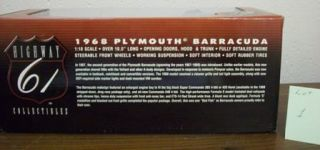 1968 Plymouth Barracuda 118 Scale Die Cast Metal