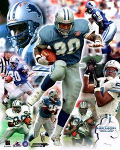 Barry Sanders Tribute Detroit Lions Historic NFL Poster Print L E 500