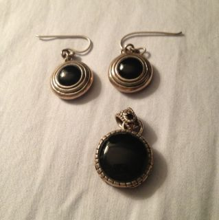 Barse Sterling Silver Black Onyx Earrings and Pendant