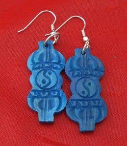 YBER1TIBETAN Bajra Ying Yang Carved Handmade Buffalo Bone Earrings