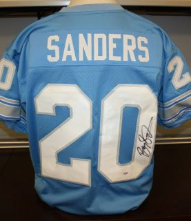 BARRY SANDERS Autographed Detroit Lions Light Blue Jersey