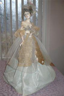 Victorian Boudoir Lamp lady Doll French No Lamp signed Eva bartz Bart