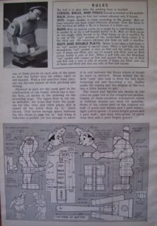Vintage How to Build Wooden Wood Baseball Table Top Pinball Game 1944