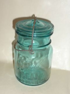 Vintage Ball Ideal Blue 1908 Pint Glass Lid Canning Jar