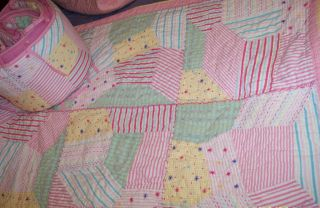 Pottery Barn Crib Quilt set Jordan patchwork Baby girl pink with cute