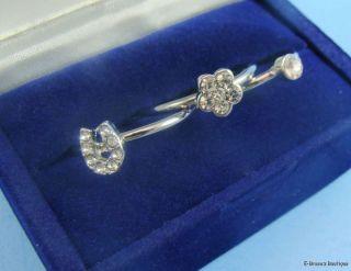 Silver Tone Crystal 3 Ring Set Horseshoe Flower Size 7