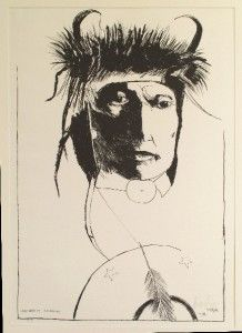 Leonard Baskin Chief Wets It Assinnboine Wood Engraving Print Indian