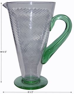 Tiffin Two Tone Crystal and Green 15331 Spiral Optic Pitcher Large Jug