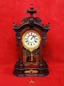 Original Antique Victorian Ansonia Monarch Mantle Clock Drawer Front