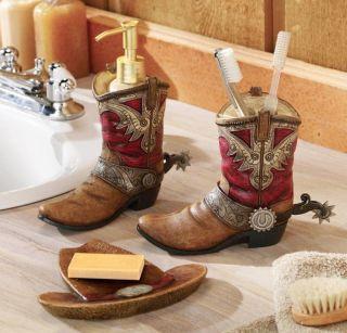 Western Bathroom Decor Cowboy Boots & Hat Bath Accessories Set