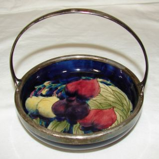 William Moorcroft Pottery Wisteria Basket Bowl Silver Handle C 1918 28