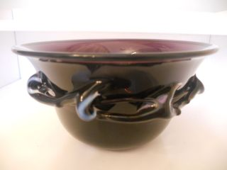 CC Walters Purple Amethyst Art Glass Bowl Signed Dated 1987