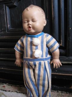 Vtg Rubber Baby Boy Doll Squeaky Toy Dree Me Dee 1950