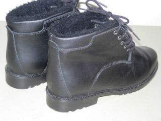 Womens Sz 8 Barbo Black Leather Ankle Lace Boots Made in Canada