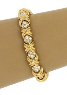 Tiffany Co 18K Gold Diamonds Signature Collection Ladies Bracelet
