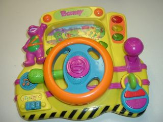 Barney Activity Toy Dashboard Car Driving Steering Wheel Light Sounds