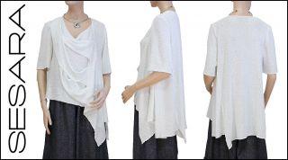 Zuza Bart Amazing Milk White Boucle Knit Asymmetrical Sweater L XL