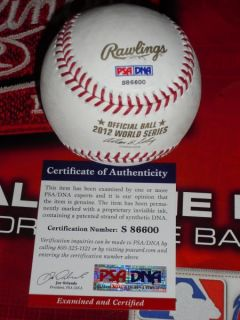 Signed 2012 World Series Baseball San Francisco Giants PSA DNA
