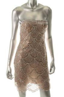Basix Silver Silk Embellished Strapless Sheath Cocktail Dress 0 BHFO