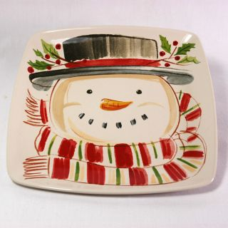 LONGABERGER BASKETS CHRISTMAS POTTERY TOP HAT SNOWMAN SQUARE PLATE NEW