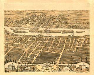 Batavia Birds Eye View Map 1869 Illinois Kane County Birds eye view