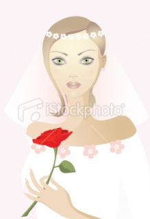 pretty girl with rose Royalty Free Stock Vector Art Illustration