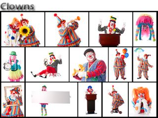 Clowns Adult Male Holding Up Umbrella Full Length  Stock Photo